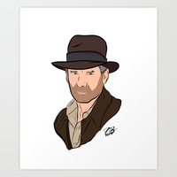 indiana jones Art Prints featuring Indiana Jones by Rachel Barrett
