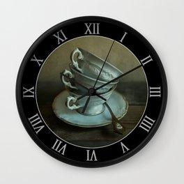 White teacups set Wall Clock