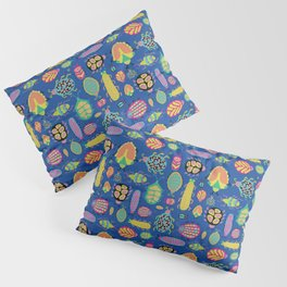 Tropical colorful bugs on a blue background pattern Pillow Sham