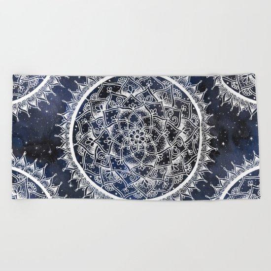 White Nebula Mandala Beach Towel