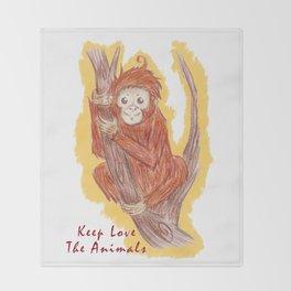 Orangutan In The Forest Throw Blanket