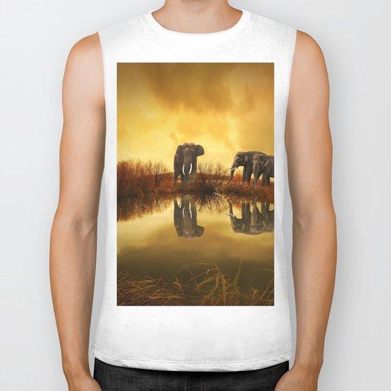 The Herd (Elephants) Biker Tank