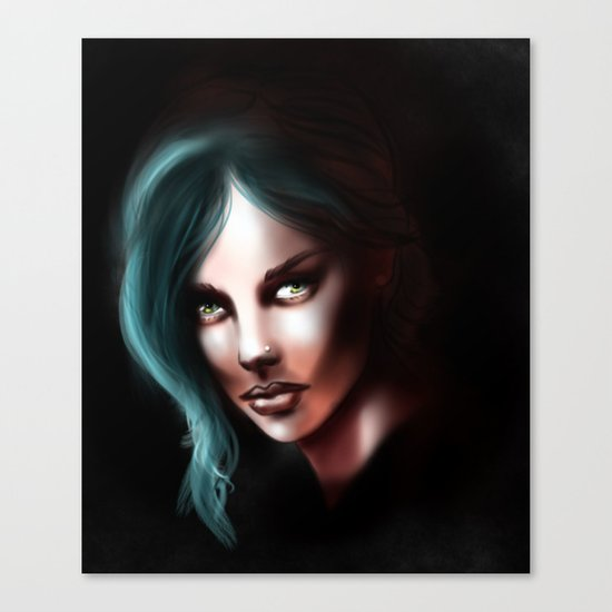 Green-haired Lady. Canvas Print