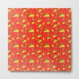 Tasty Tacos Chillies and Cactus Mexican Food Pattern on Red Metal Print