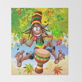 Rasta Bongo Musician funny cool character Throw Blanket