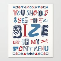 font Canvas Prints featuring Font Menu by Word Quirk