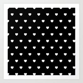 HEARTS ((white on black)) Art Print