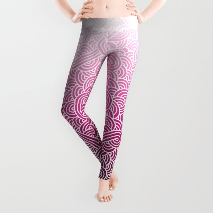 Ombre pink and white swirls doodles Leggings