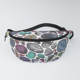 MIXED GEMSTONES ON WHITE Fanny Pack
