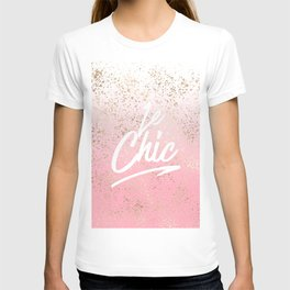 Le Chic French Quote Speckled Gold Flakes T-shirt