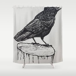 Observant Crow Shower Curtain