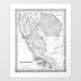 California & San Francisco Map Art Print