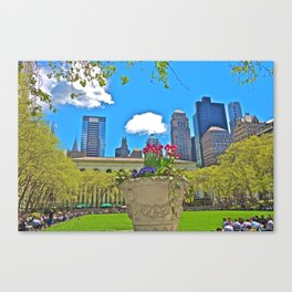 Skyline from Bryant Park, NYC Canvas Print