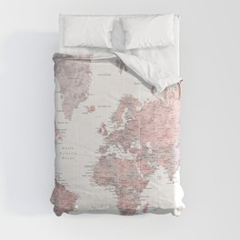 We travel not to escape life, dusty pink and grey watercolor world map Comforters