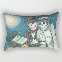 CEMETERY NUPTIALS - Susan Brack Skeleton Halloween Wedding Rectangular Pillow