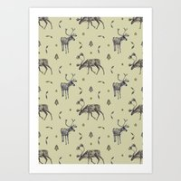 reindeer Art Prints featuring Reindeer by Francesca Hooper