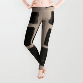 Brush Strokes Vertical Lines Black on Nude Leggings
