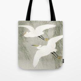 Flying Egrets - Japanese vintage woodblock print Tote Bag