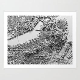 Boston 3D Map Art Print