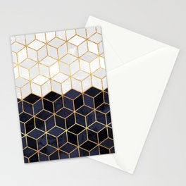 White & Navy Cubes Stationery Cards