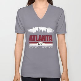 Atlanta GPS Coordinates  Distressed Gifts Unisex V-Neck