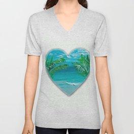 Florida, beach with palms~Ocean Love Unisex V-Neck