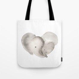 Elephant Mama and Baby Tote Bag