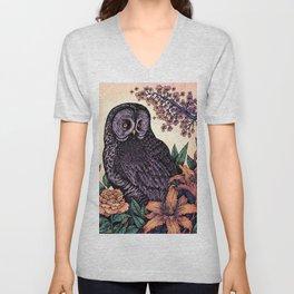 Great Grey Owl At Sunset Unisex V-Neck