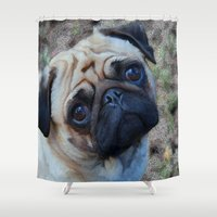 pug Shower Curtains featuring Pug by Whimsy Notions Designs