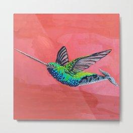 Narwhal Hummingbird Metal Print