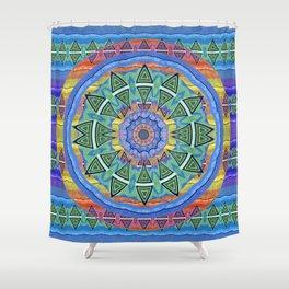 Surfer Vintage Tribal Mandala Sea Green Detail Shower Curtain