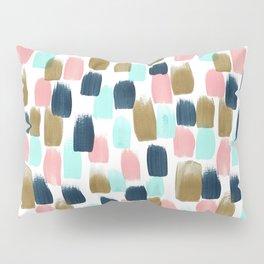 Pink, Mint, Navy & Gold Abstract Print, Nursery Art, Little Girls Room Pillow Sham