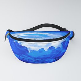 cloudy sky blue turquoise splatter watercolor Fanny Pack