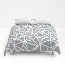 Abstract Outline Thick White on Grey Comforters