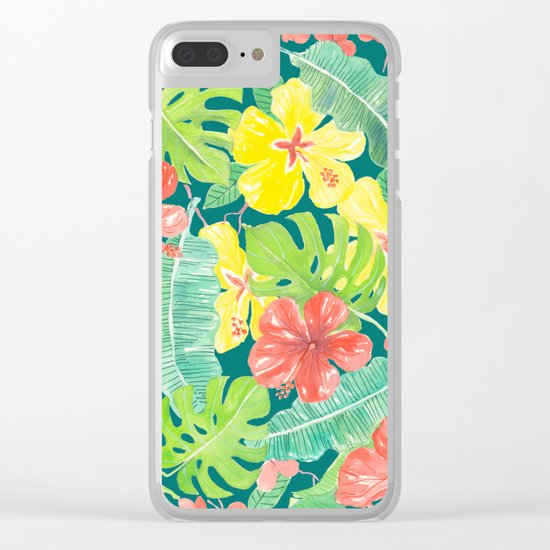 Tropical garden, hibiscus plumeria and palm leaves Clear iPhone Case