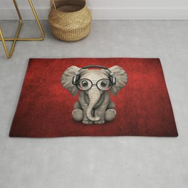 Cute Baby Elephant Dj Wearing Headphones and Glasses on Red Rug