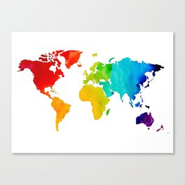 Original Watercolor - Map of The World - Travel Art - Chakra Rainbow Colors Canvas Print