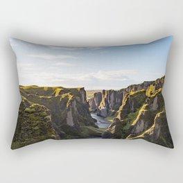 Lush Green Canyon River Bathed In Sunlight Rectangular Pillow
