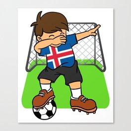 Iceland Soccer Ball Dabbing Kid Icelander Football Goal Canvas Print