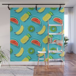 Pool Party pineapple, watermelon,banana,kiwi Wall Mural