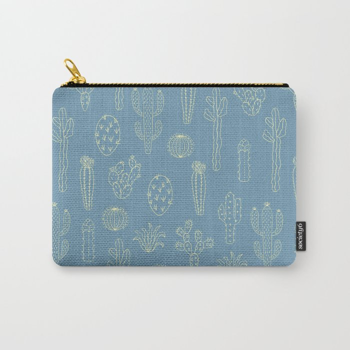 Cactus Silhouette Blue Carry-All Pouch