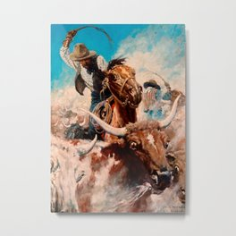 "N C Wyeth Vintage Western Painting ""Cutting Out"" Metal Print"