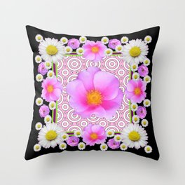 Floral Abundance Black Shasta Daisy Pink Roses Abstract Art For the home or the office and gifts fro Throw Pillow