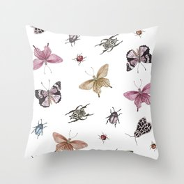 butterlies and insects Throw Pillow