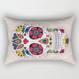 Day of the Dead Sugar Skull Light Rectangular Pillow