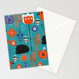 Modern birds and sleepy cats Stationery Cards