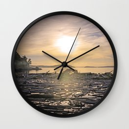 LAZY MORNING DRIFTWOOD LAGOON SUNRISE PACIFIC NORTHWEST Wall Clock
