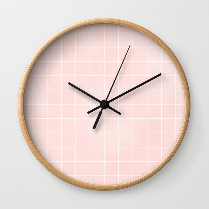 Pink Coral Grid Wall Clock