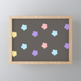pattern with multi color flowers on black background Framed Mini Art Print