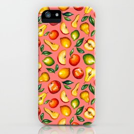 Watercolor fruit pattern on pink background iPhone Case
